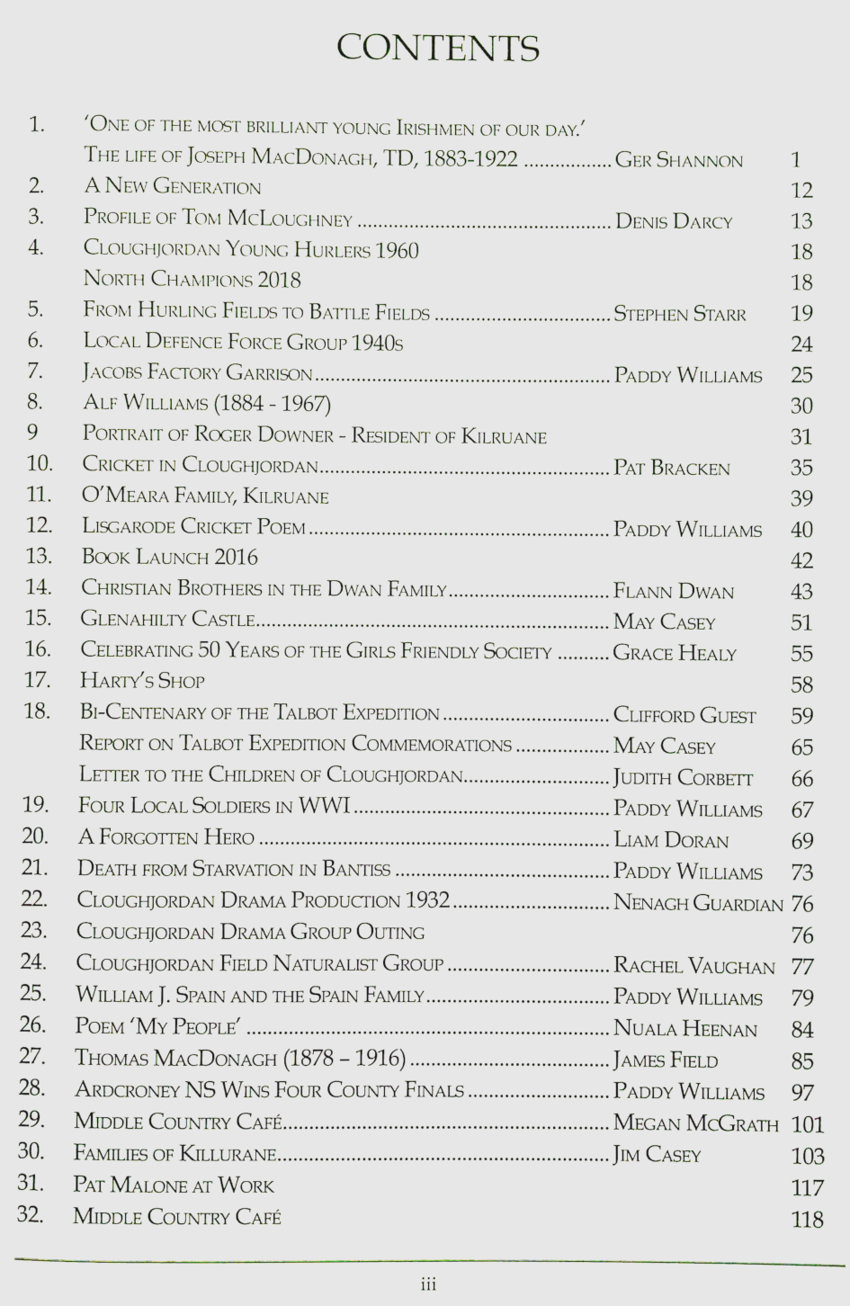 Contents listing of Cloughjordan Heritage: Vol. X 2018